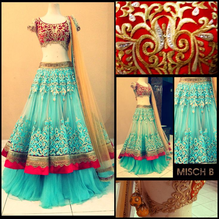 Bridal reception lehenga in turqouise by MischB Couture