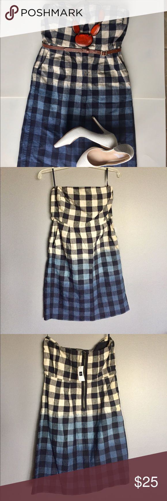 GAP Ombré Mini Tube Dress Size 6 Dress up in this Cute, fun #Mini #Tube #checkered GAP dress with blue & cream Ombré effect. Match with lovely heels and accessories for a casual date with friends :) Bundle and Save! GAP Dresses Mini