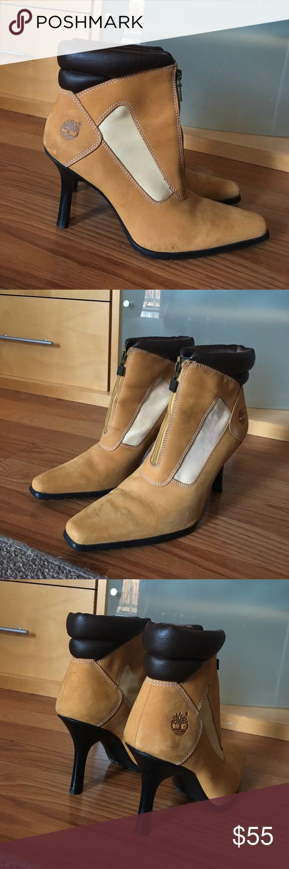 Timberland High Heel Zip Ankle Wheat Boots Sz 7 Hello, this is a fabulous pair of women's Timberland high heel boots. They are in good condition! There are some scuffs on the side. Size 7M. Please send me any questions, thanks! Timberland Shoes Ankle Boots & Booties