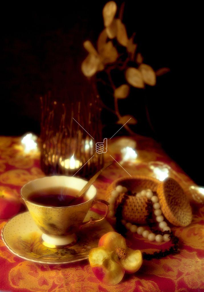 Cup oa tea in night