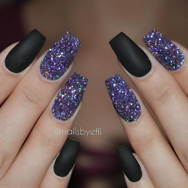 Instagram Post by Effi Theodora 🇬🇷 🇸🇪 (@nailsbyeffi). Black And Purple  NailsMatte ... - 25+ Trending Purple Glitter Nails Ideas On Pinterest Purple