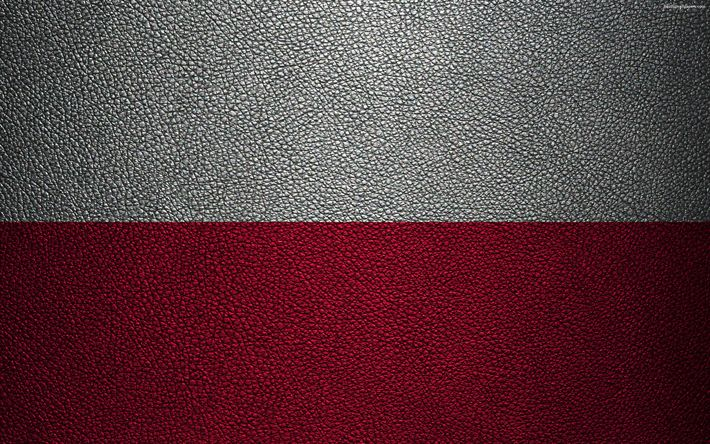 Download wallpapers Flag of Poland, 4k, leather texture, Polish flag, Europe, flags of Europe, Poland