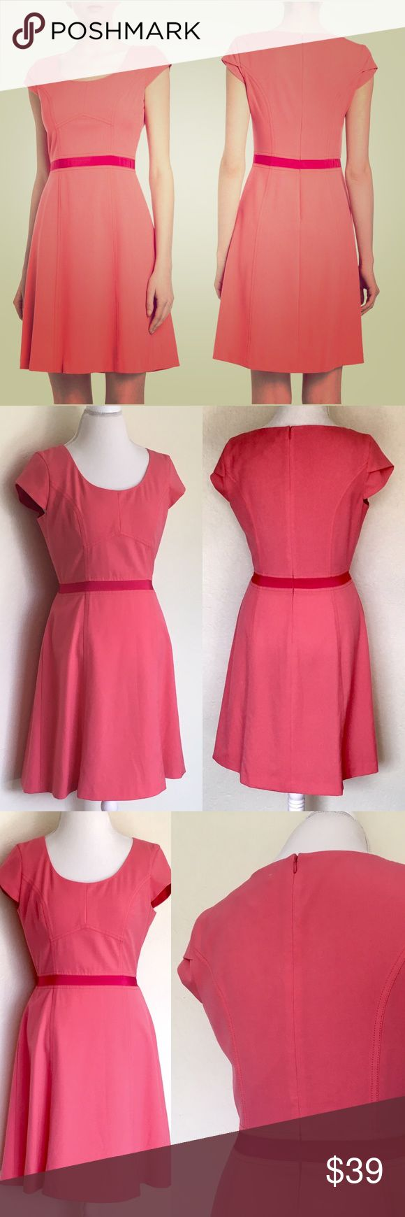 """ANDREW MARC Coral Pink Two-Tone Ribbon Trim Dress❤ ❤Super Cute MARC NEW YORK by Andrew Marc Two-Tone Ribbon Trim Fit-And-Flare Dress in Coral Pink❤Perfect for daytime office attire & spice up in the evening for drinks after work 🤗🥂❤NWT, no flaws, pet & smoke free home. Scoop neckline, pretty cap sleeves, geometric seams/tonal topstitching on fitted top, hidden back zip, contrast grosgrain waistline, flared seamed Skirt, straight hem, part lined. Measures flat, approx: L:37.5"""", C:19""""…"""