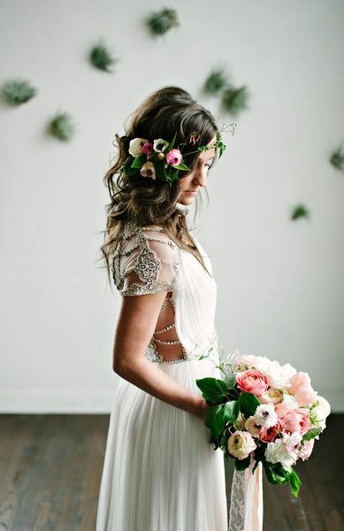 WOW. Speechless over everything about this #bohemian look ... the detail on the dress, the bouquet, and hair wreath... everything! {Jen Rios Designs}