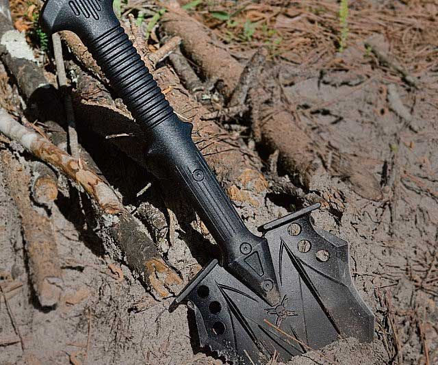 The ultimate tactical shovel that also doubles as a defensive weapon. Features virtually indestructible, injection-molded nylon handle with 30-Percent fiberglass & nylon reinforcement. The shovel head is made of tempered 2Cr13 stainless tool steel with a hard, black oxide coating. The...