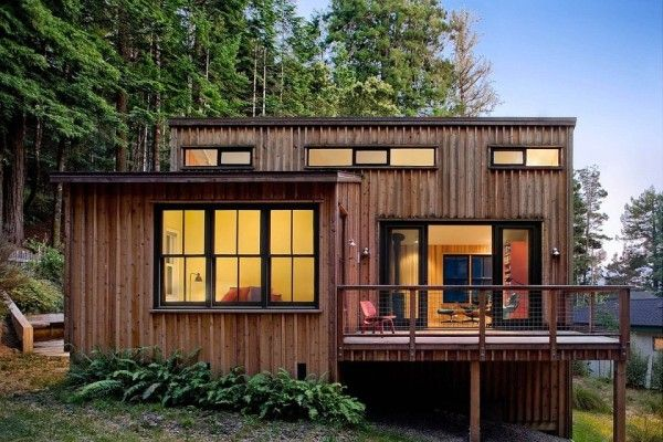 Interesting floor plan on this one.. 840 sf modern rustic redwoods cottage cabin by cathy schwabe 001 600x400   840 Sq. Ft. Modern and Rustic Small Cabin in the Redwoods