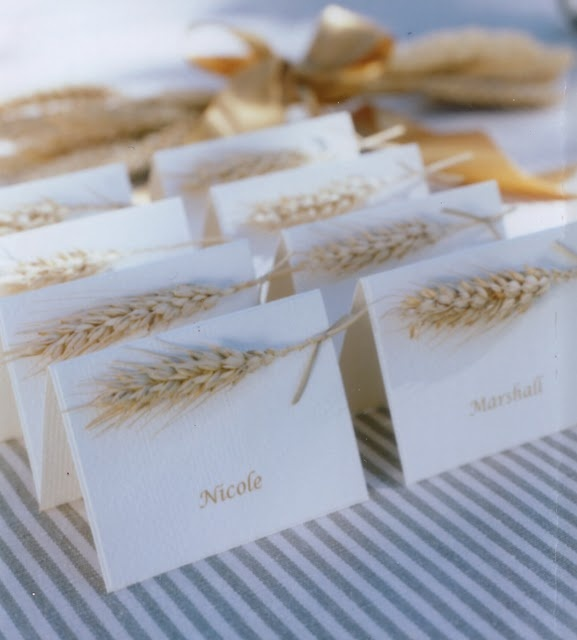 Autumn wheat placecards by Rosebud Design.