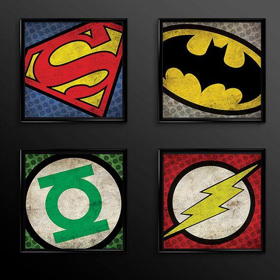 batman superman green lantern flash superhero print set batman