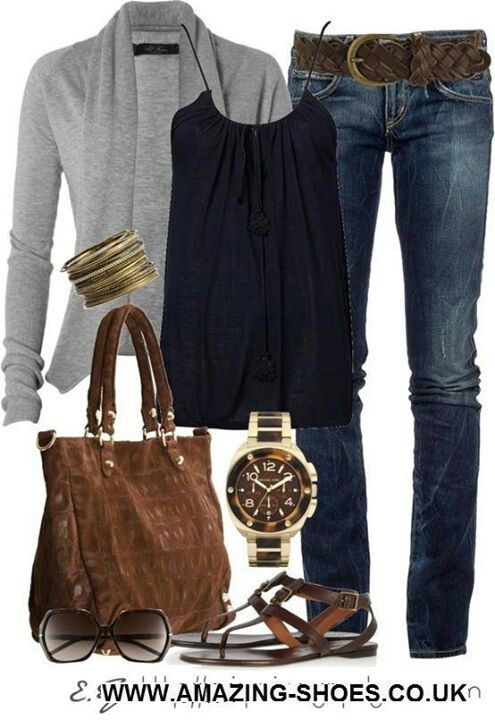 I like the look of this outfit. I would like to see more color. The jeans look like they would be too tight for me though.