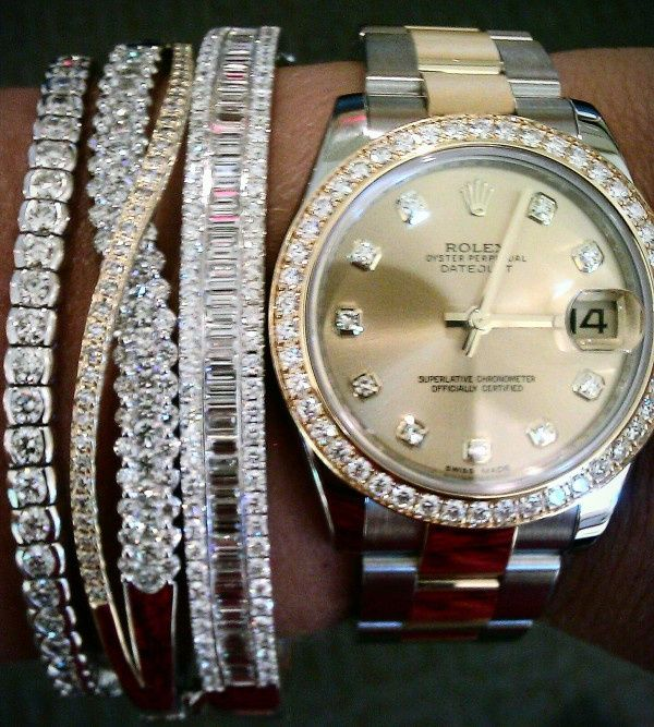 the watch: One Day, Arm Candy, Rolex Watches, Diamonds Bracelets, Dreams, Stacking Bracelets, Wrist Candy, Arm Parties, Bling Bling