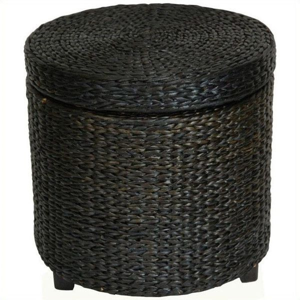 Oriental Furniture Rush Grass Storage Footstool ($69) ❤ liked on Polyvore featuring home, furniture, ottomans, black, colored ottomans, asian furniture, storage ottomans, woven seagrass furniture and black storage ottoman