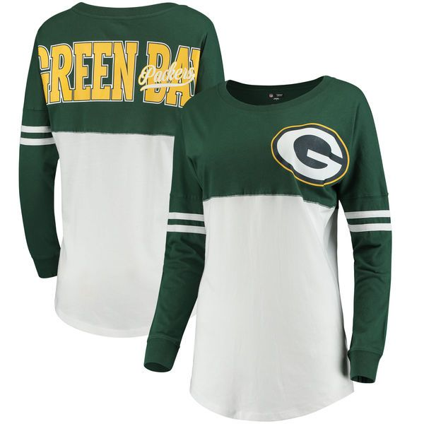 Green Bay Packers 5th & Ocean by New Era Women's Team Logo Athletic Varsity Long Sleeve T-Shirt - Green/White
