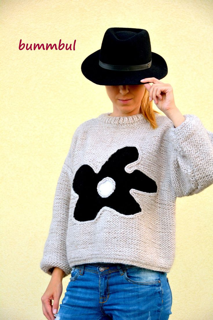 Knit sweater for women, Gray knit sweater, hand knitted sweater with flower, M size ,3/4 sleeves,  womens clothing - pinned by pin4etsy.com