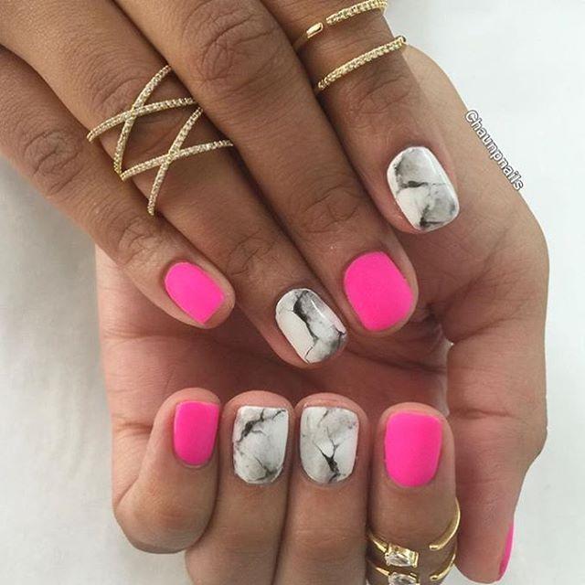 Pink Matte n Marble Nails  @enameldiction @chaunpnails