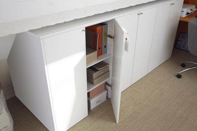 Caisson Sous Pente Spaceo Home Blanc H 100 X L 80 X P 60 Cm Dressing Sous Combles Combles Et Meuble Sous Pente