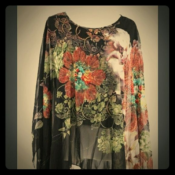 Black chiffon blouse Brand new with tags, black chiffon flower blouse, very flowy at the bottom.  Size XL Other