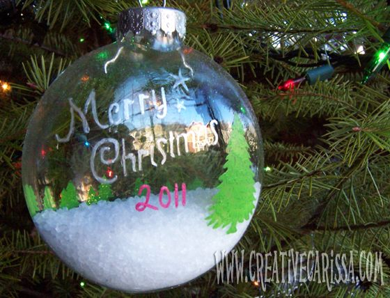 "How to make a ""snowy wonderland"" Christmas ornament. It looks like there is snow INSIDE the ornament!"