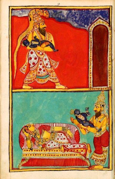L'échange des enfants. Album de 192 illustrations de L'Histoire de Krishna ou Incarnation de Vishnu Karikal (Tanjore), entre 1742 et 1758. Une nuit, Vasudeva, sur ordre de Vishnu, emporte son fils pour l'échanger contre la fille de Yashoda et Nanda. Deux régistres. En haut, Vasudeva, debout, marche vers la droite, la tête surmontée du naga à cinq têtes et tient Krishna dans ses bras ; en bas, Yashoda étant endormie, Vasudeva procède à l'échange des enfants.