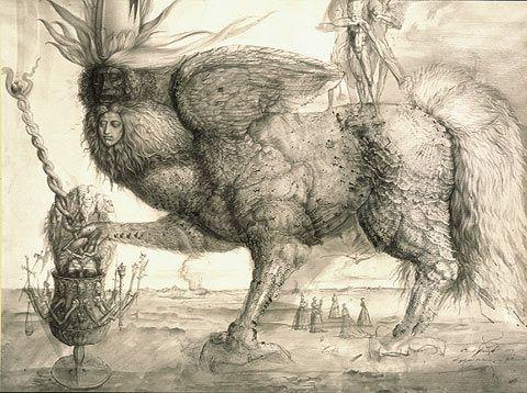 """""""El espíritu de Mercurio"""", de Ernst Fuchs, uno de los fundadores, en 1946, de la Escuela Vienesa de Realismo Fantástico"""