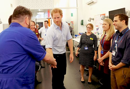 Prince Harry visited with staff at Burrell Street Sexual Health Clinic on July 14th, 2016 in London, England. Harry visited the clinic, run by Guy's and St Thomas NHS Foundation, to promote the importance of getting tested for HIV and other STDs. The Prince himself even got tested for HIV to help promote the cause.