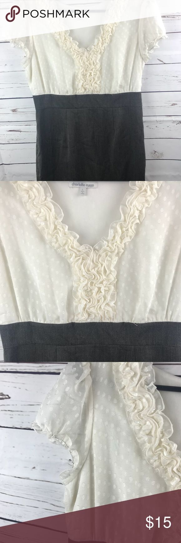 Charlotte Russe Dress Career Cream Grey Large Used good condition Charlotte Russe Dresses Midi