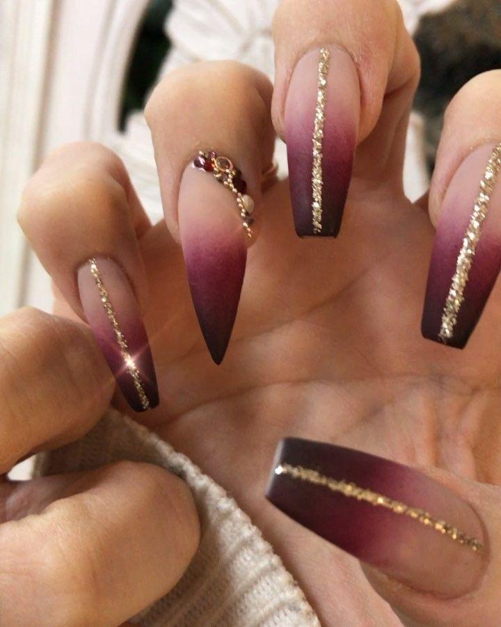 Ombre Nails Using Riyagelpolish Riyaintactgel Riyasnowipemattetopcoat 112 053 Black Cle Nailpro Dark Red Nails Red And Gold Nails Dark Nails With Glitter
