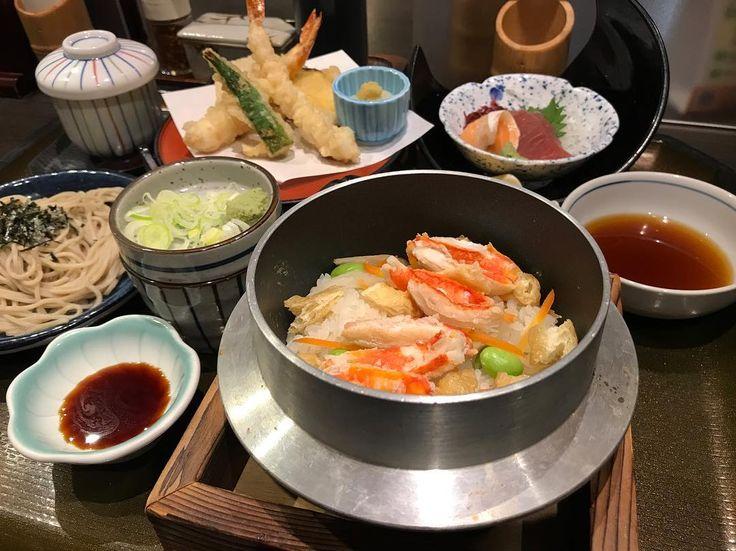 蟹釜めし #男子ごはん #夕飯 #お一人様 #本ズワイ蟹 #釜飯 #和食 #日本 #japan #dinner #winter #crab #kamameshi #tempura #japanesefood #photo_shorttrip #IGersJP