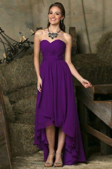 Robe violette prune bustier cœur courte devant longue derrière pour mariage