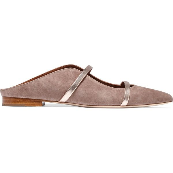 Malone Souliers Metallic leather-trimmed suede point-toe flats (19.575 RUB) ❤ liked on Polyvore featuring shoes, flats, mushroom, flat slip on shoes, metallic pointed toe flats, metallic flats, pointy toe flats and flat shoes