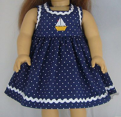 "NAVY Dot SAILBOAT DRESS w/ RIC RAC made for 18"" American Girl Doll Clothes"