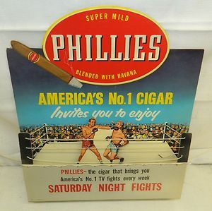 Stores of the Past 1950's   NOS 1950'S Phillies Cigars DIE CUT Cardboard Motion Store Display Sign ...