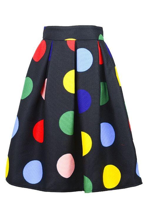 Colorful Polka Dot Midi Skirt: Skirts | ZAFUL