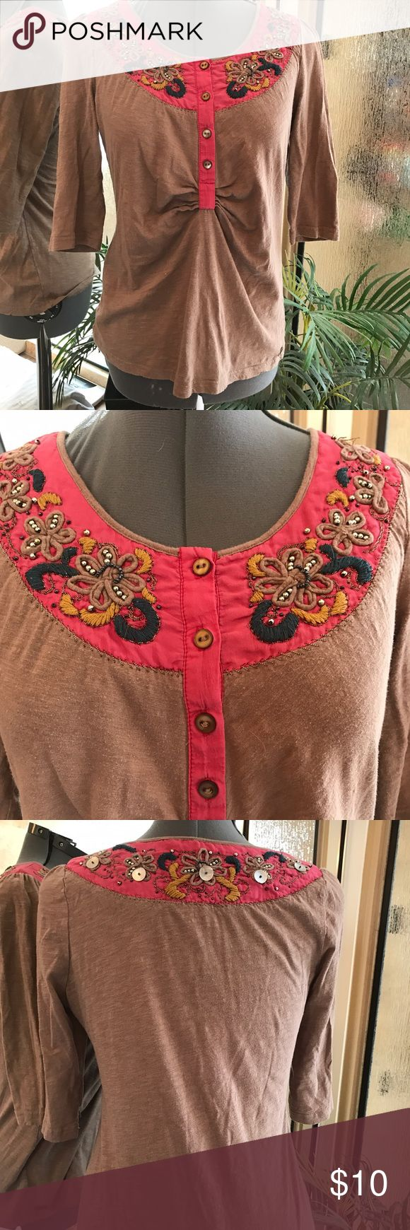 Miss me brand top size small Miss me brand top size small tan with pink and embroidery very cute Miss Me Tops Tees - Long Sleeve