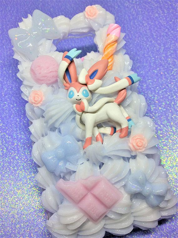 Decoden Phone Case Sylveon pastel blue & white sweets bows theme! // Ready To Ship for Samsung Galaxy s6! s 6  pokemon pink milk candy deco