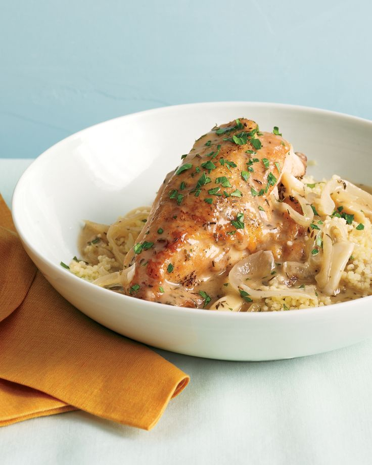 Slow-Cooker Garlic Chicken with Couscous Recipe & Video | Martha Stewart