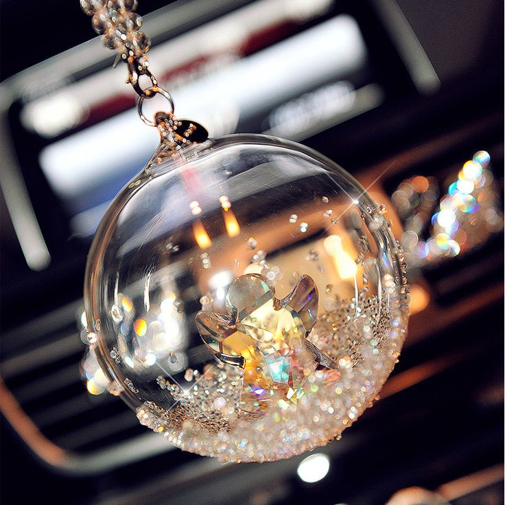 Car Mirror Hanging Charm-Crystal Globe with Angel Pendant - Carsoda - 1