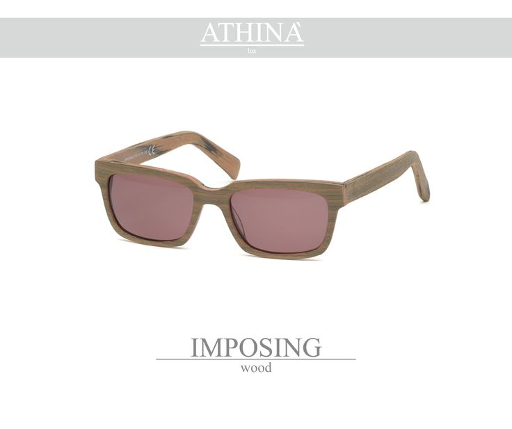 Mod. IMP1717S03 Shades totally made in top-quality acetate of cellulose with a rectangular shape and wood colour. Provided with standard brown lenses.