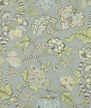 Fabric for wingback chairs.   Walls gray.   Loveseats white.   Fireplace and all trim white.   The colors in this fabric are the colors for living room with accents of the green in fabric.