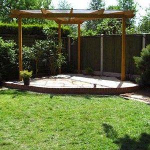 Corner Triangular Pergola With Roof , Unique Triangular Pergola In Landscaping And Outdoor Building Category