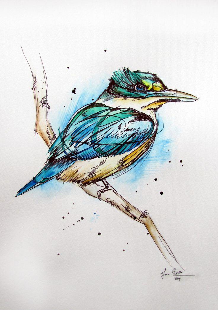Inked tattoo NZ Kingfisher watercolour painting/illustration by www.fiona-clarke.com