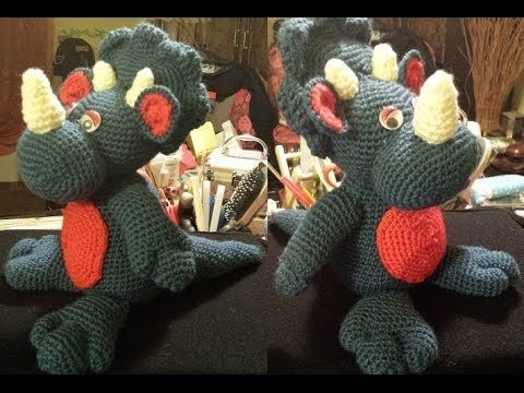 Dinosauro Amigurumi 2 di 2 tutorial uncinetto crochet - YouTube