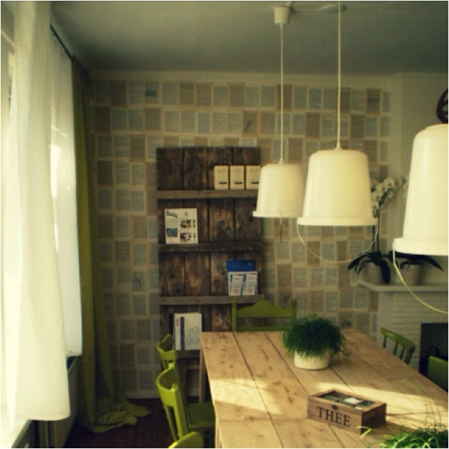 Book Pages Used As Wallpaper Super Creative And Eco Friendly Love It Green Interior DesignInterior