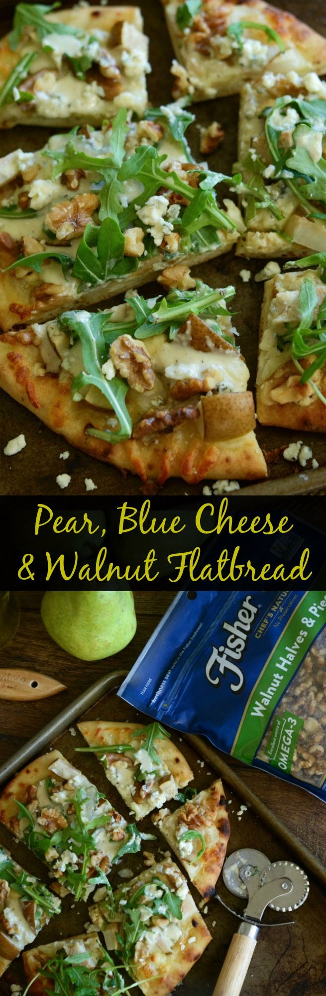 Pear, Blue Cheese & Walnut Flatbread - ready in 20 minutes! This heart healthy recipe brought to you by @FisherNuts! #thinkfisher #ad