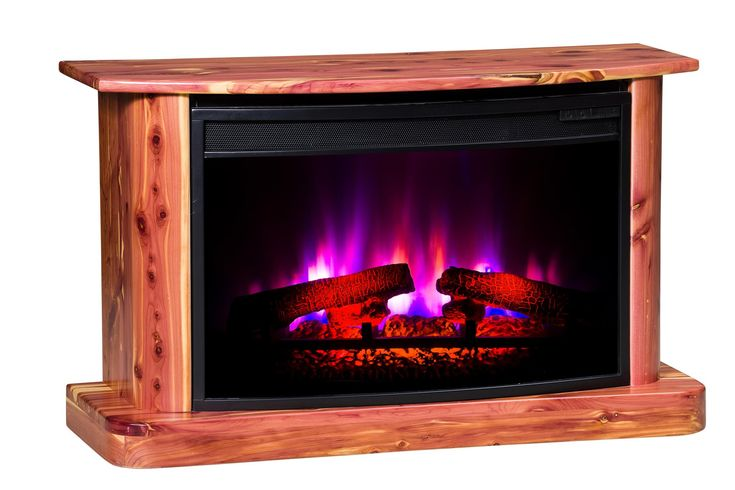 """Amish Rustic Cedar Electric Fireplace  Innovative Designs Collection  Add warmth and """"surefire"""" romance to your home with the Amish Rustic Cedar Electric Fireplace."""