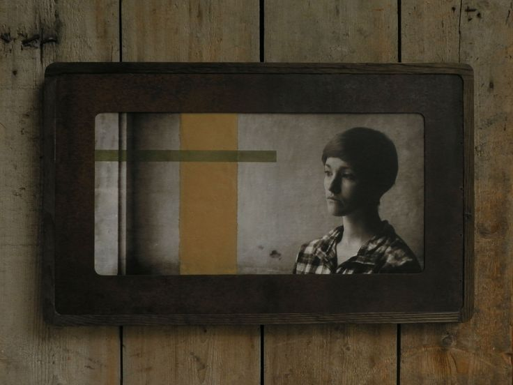 Reclaimed wood frame, rusty sheet metal passe-partout, encaustic photography, baking paper, japanese paper, 77x47 cm. Made in Zahrada.