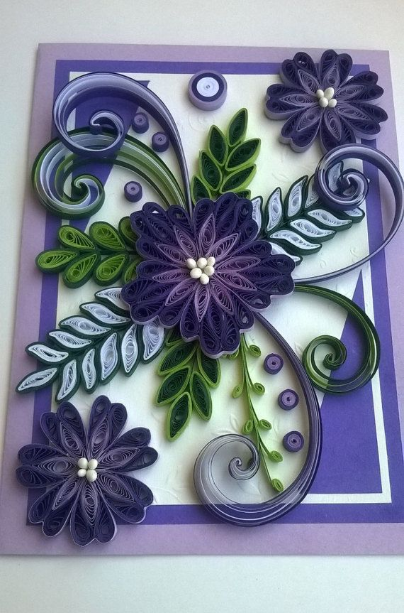 Quilled Mother Day Card Quilled Birthday Card by valentiartshop