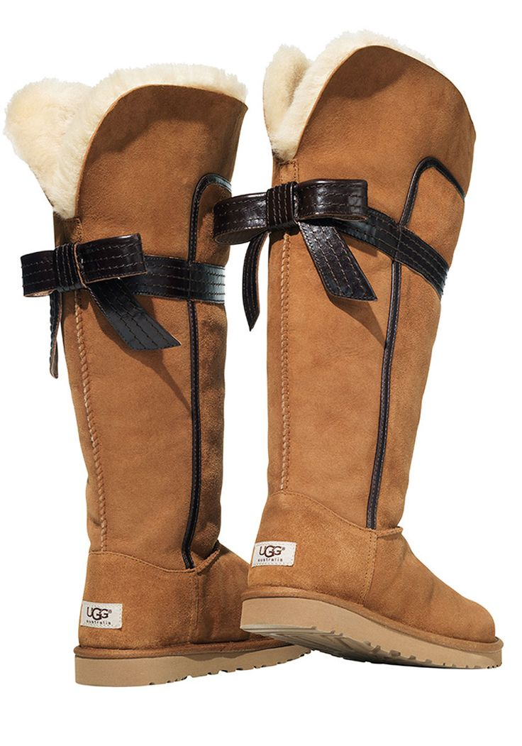 """""""Love, love, love! I think these new tall boots from Ugg Australia are gorgeous they can be worn up or cuffed down, and the leather bow and piping make them extra special. Uggs are still the warmest boots I own.""""Oprah"""