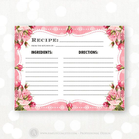 Printable Recipe Card Pink Shabby Chic For Bridal By AmeliyCom 600 INSTANT DOWNLOAD Shower Recipes Bride