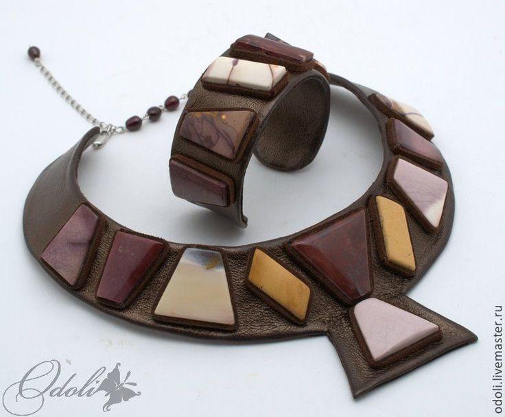 Гривна и браслет из кожи и мукаита Египет. Handmade.