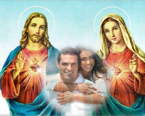 Fotomontaje con la Virgen María y el Sagrado Corazón de Jesús